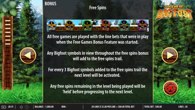 The Legend of Big Foot :: Free Spins Rules
