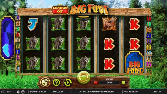 The Legend of Big Foot :: Multiple winning paylines triggers a big win