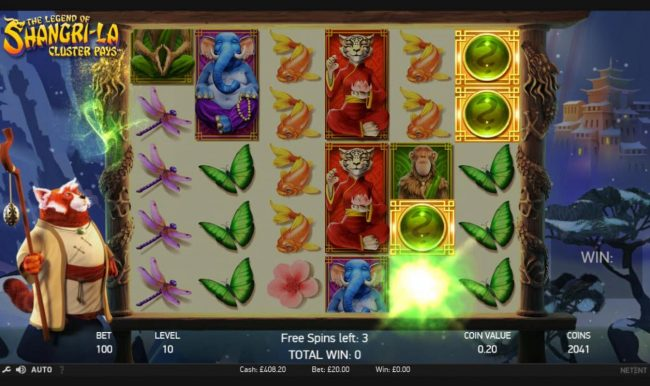 Free Spins featuring the Video Slots The Legend of Shangri-La with a maximum payout of $200,000