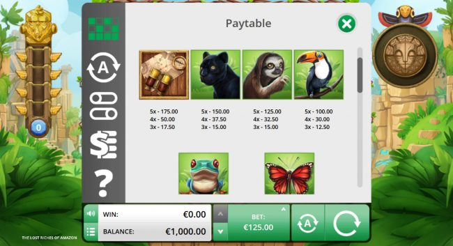 Sun Play featuring the Video Slots The Lost Riches of the Amazon with a maximum payout of $125,000