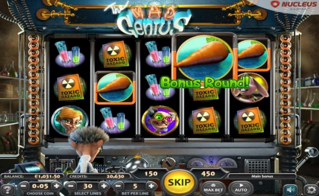 Big Spin featuring the Video Slots The Mad Genius with a maximum payout of $12,500