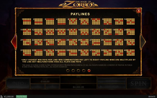 Circus Casino featuring the Video Slots The Mask of Zorro with a maximum payout of $400,000