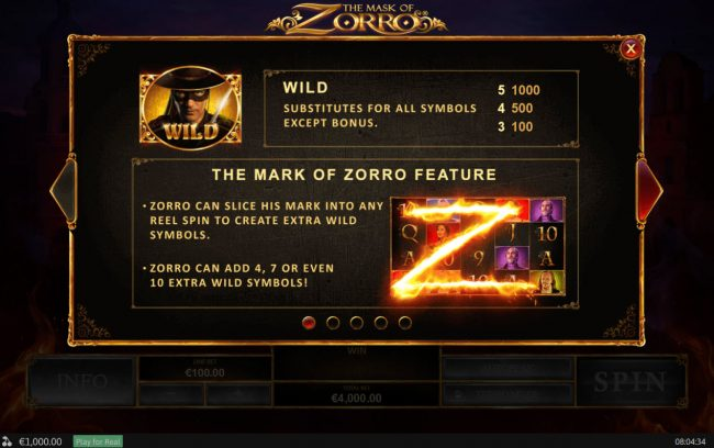 Vernons featuring the Video Slots The Mask of Zorro with a maximum payout of $400,000