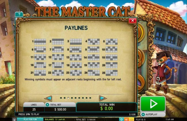 Noxwin featuring the Video Slots The Master Cat with a maximum payout of $30,000