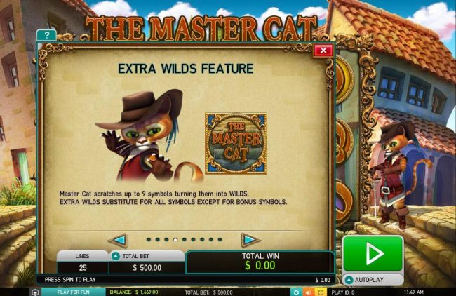 Euro Slots featuring the Video Slots The Master Cat with a maximum payout of $30,000