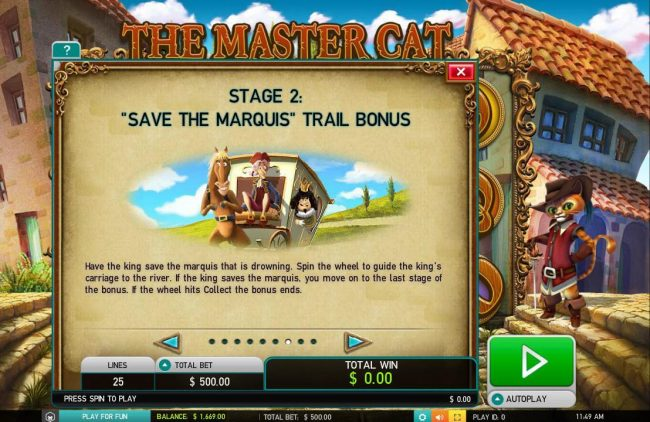 Instacasino featuring the Video Slots The Master Cat with a maximum payout of $30,000