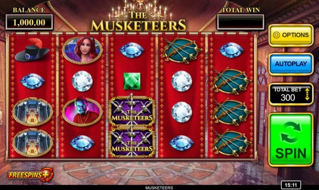 Play slots at Spinland: Spinland featuring the Video Slots The Musketeers with a maximum payout of $250,000