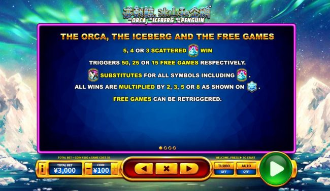 The ORCA, the ICEBERG and the PENGUIN :: Free Games Bonus Rules