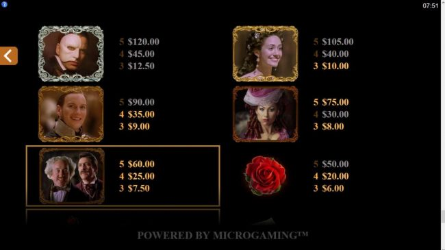 Ruby Fortune featuring the Video Slots The Phantom of the Opera with a maximum payout of $116,000