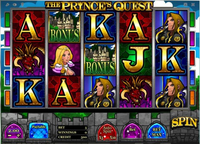Oshi featuring the Video Slots The Prince's Quest with a maximum payout of $10,000