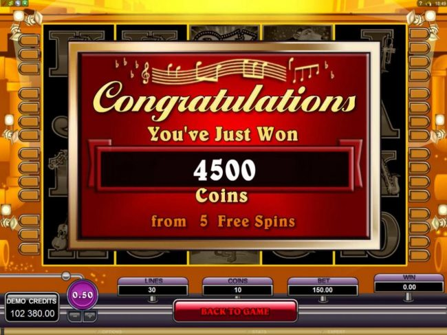 Five free games pays out a total of 4500 coins.