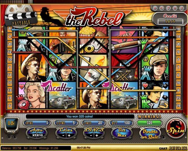Play slots at Malina: Malina featuring the Video Slots The Rebel with a maximum payout of $125,000