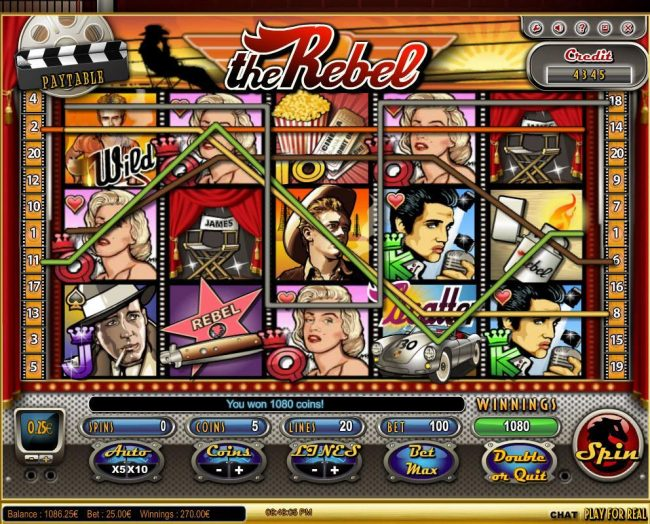 Casdep featuring the Video Slots The Rebel with a maximum payout of $125,000