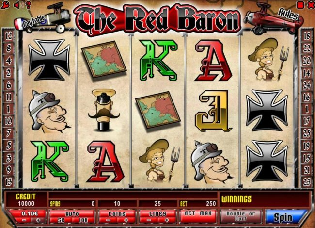 Betchan featuring the Video Slots The Red Baron with a maximum payout of $50,000