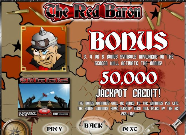 Malina featuring the Video Slots The Red Baron with a maximum payout of $50,000