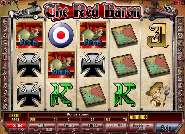 Casdep featuring the Video Slots The Red Baron with a maximum payout of $50,000