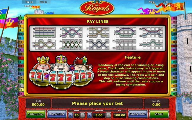Payline Diagrams 1-20. Feature - Randomly at the end of a winning or losing game, The Royals feature may be triggered. A royal character will appear in one or more of the reel windows. The reels will spin and stop on prize-winning combinations.