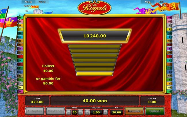 Gamble Feature Game Board - Available after every winning spin.