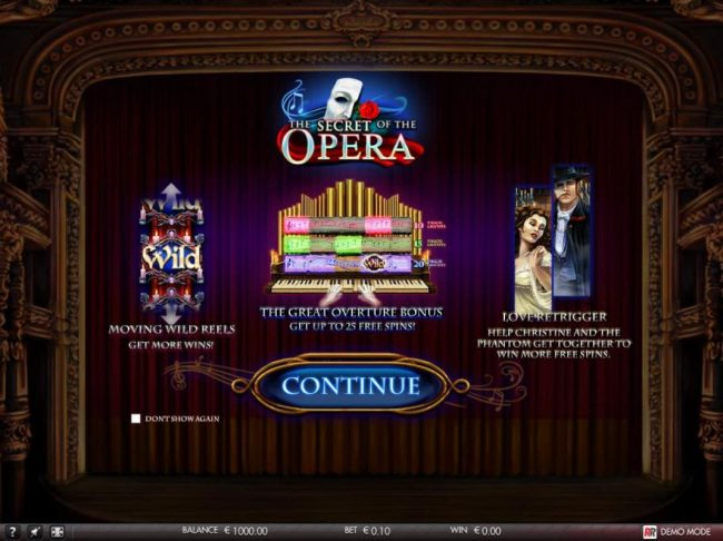 The Secret of the Opera :: Game features include: Moving Wild Reels, The Great Overture Bonus and Love Retrigger