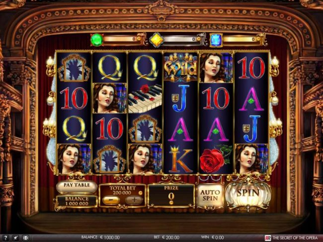 The Secret of the Opera :: Main game board featuring five reels and 50 paylines with a $4,000 max payout.