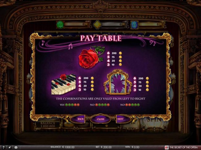 The Secret of the Opera :: Medium Value Slot Game Symbols Paytable