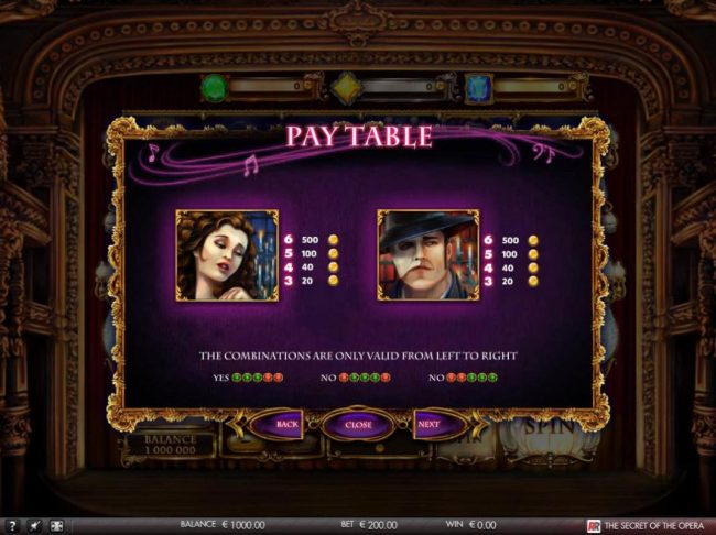 The Secret of the Opera :: High value slot game symbols paytable