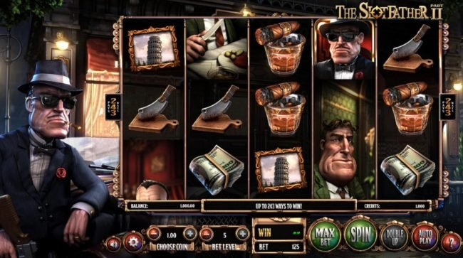 The Slotfather II :: Main game board featuring five reels and 243 winning ways with a $1,210,500 max payout.