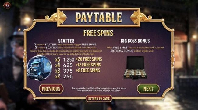 The Slotfather II :: Three or more scatter icons anywhere trigger Free Spins. After Free Spins you will be awarded with a special Big Boss Bonus instant credits win.