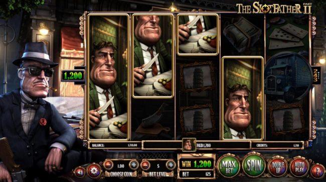 The Slotfather II :: Fat Tony symbols triggers a 1,200 coin big win.