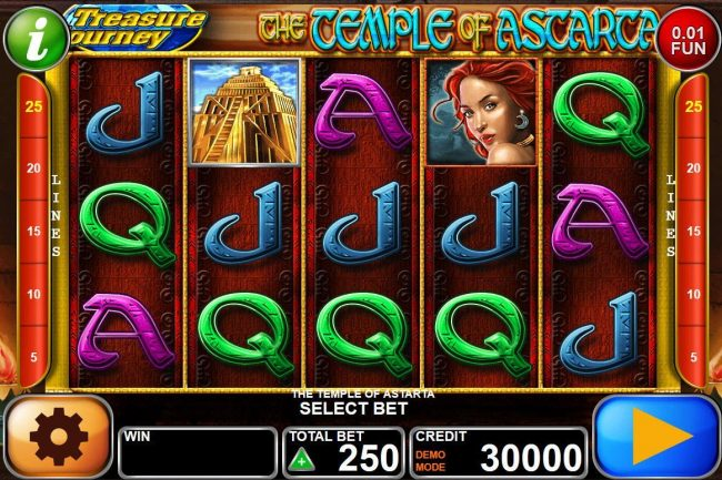 Play slots at SuperCat: SuperCat featuring the Video Slots The Temple of Astarta with a maximum payout of $1,000