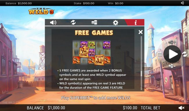 Winzino featuring the Video Slots The Wild 3 with a maximum payout of $250,000