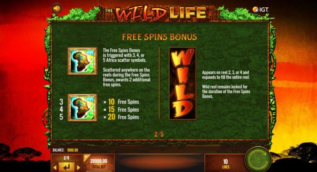 Reel Vegas featuring the Video Slots The Wild Life with a maximum payout of $25,000,000
