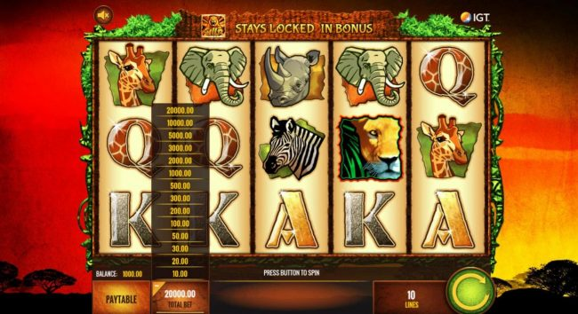 Dragonara featuring the Video Slots The Wild Life with a maximum payout of $25,000,000