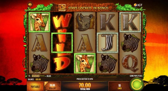 Zinger Spins featuring the Video Slots The Wild Life with a maximum payout of $25,000,000