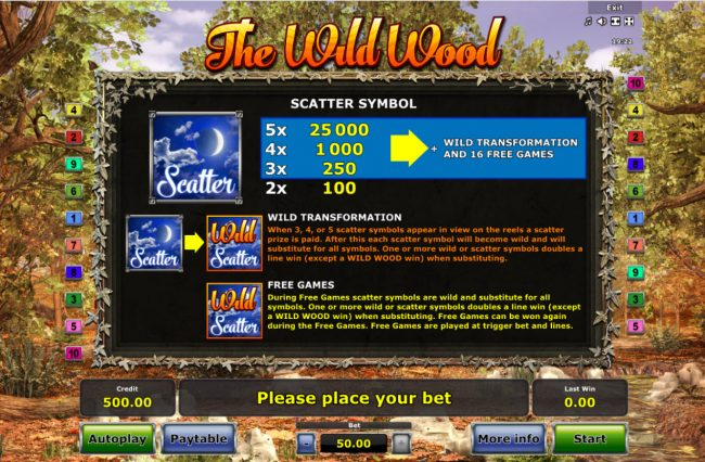 AC Casino featuring the Video Slots The Wild Wood with a maximum payout of $25,000