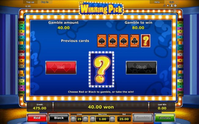Casumo featuring the Video Slots The Winning Pick with a maximum payout of $50,000