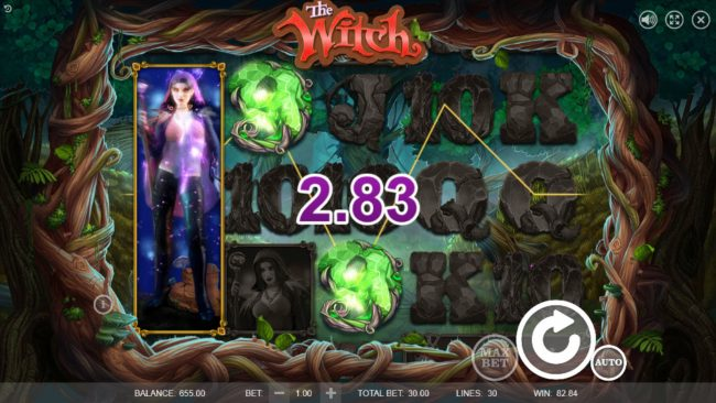 Cyber Spins featuring the Video Slots The Witch with a maximum payout of $45,000