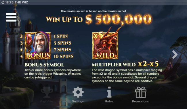 Leo Vegas featuring the Video Slots The Wiz with a maximum payout of $500,000
