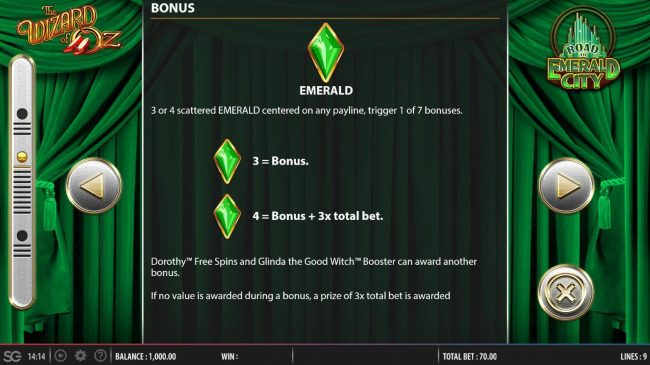 Emerald is the games scatter symbol - 3 or 4 scattered emerald centered on any payline, trigger 1 of 7 bonuses