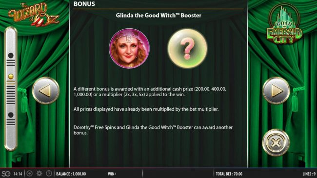 Glinda the Good Witch Booster Bonus Game Rules