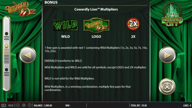 Cowardly Lion Multipliers Bonus Game Rules