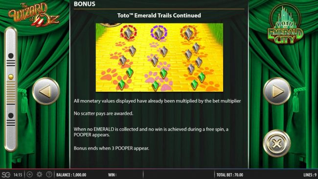 Toto Emerald Trails Bonus Game Rules - Continued