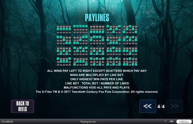 Carnival featuring the Video Slots The X Files with a maximum payout of $5,000