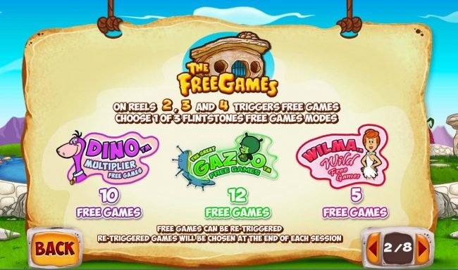 Free Games symbol on reels 2, 3 and 4 triggers free games - Choose 1 of 3 Flintsones Free Games Modes. Dino Multiplier, The Great Gazoo and Wilma Wild Free Spins.