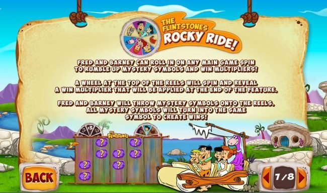 The Flintsones Rocky Ride - Fred and Barney can roll in on any main game spin to rumble up mystery symbols and win multipliers!
