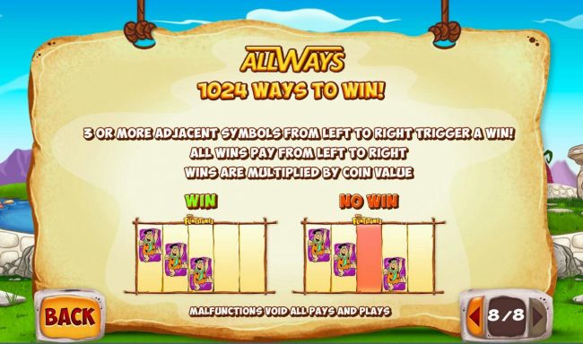 AllWays - 1024 Ways to Win! 3 or more adjacent symbols from left to right trigger a win