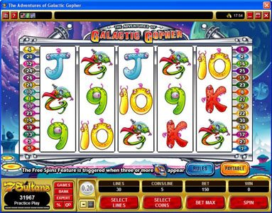 Casino Splendido featuring the Video Slots The Adventures of Galatic Gopher with a maximum payout of $37,500