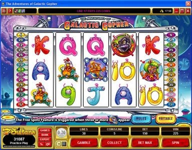 Royal Vegas featuring the Video Slots The Adventures of Galatic Gopher with a maximum payout of $37,500