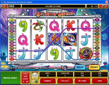 Slots Village featuring the Video Slots The Adventures of Galatic Gopher with a maximum payout of $37,500