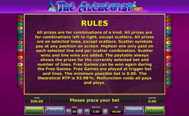 General Game Rules. The theoretical RTP for this game is 93.98%
